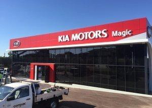 Kia motors commercial signage refresh by compac marketing australia