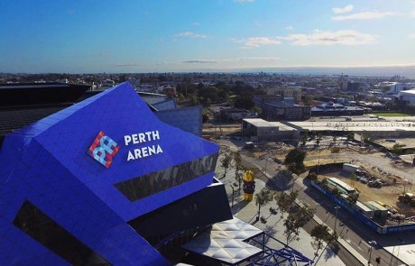 perth arena illuminated sky sign by compac