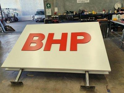 BHP re-branding double sided illuminated LED sign