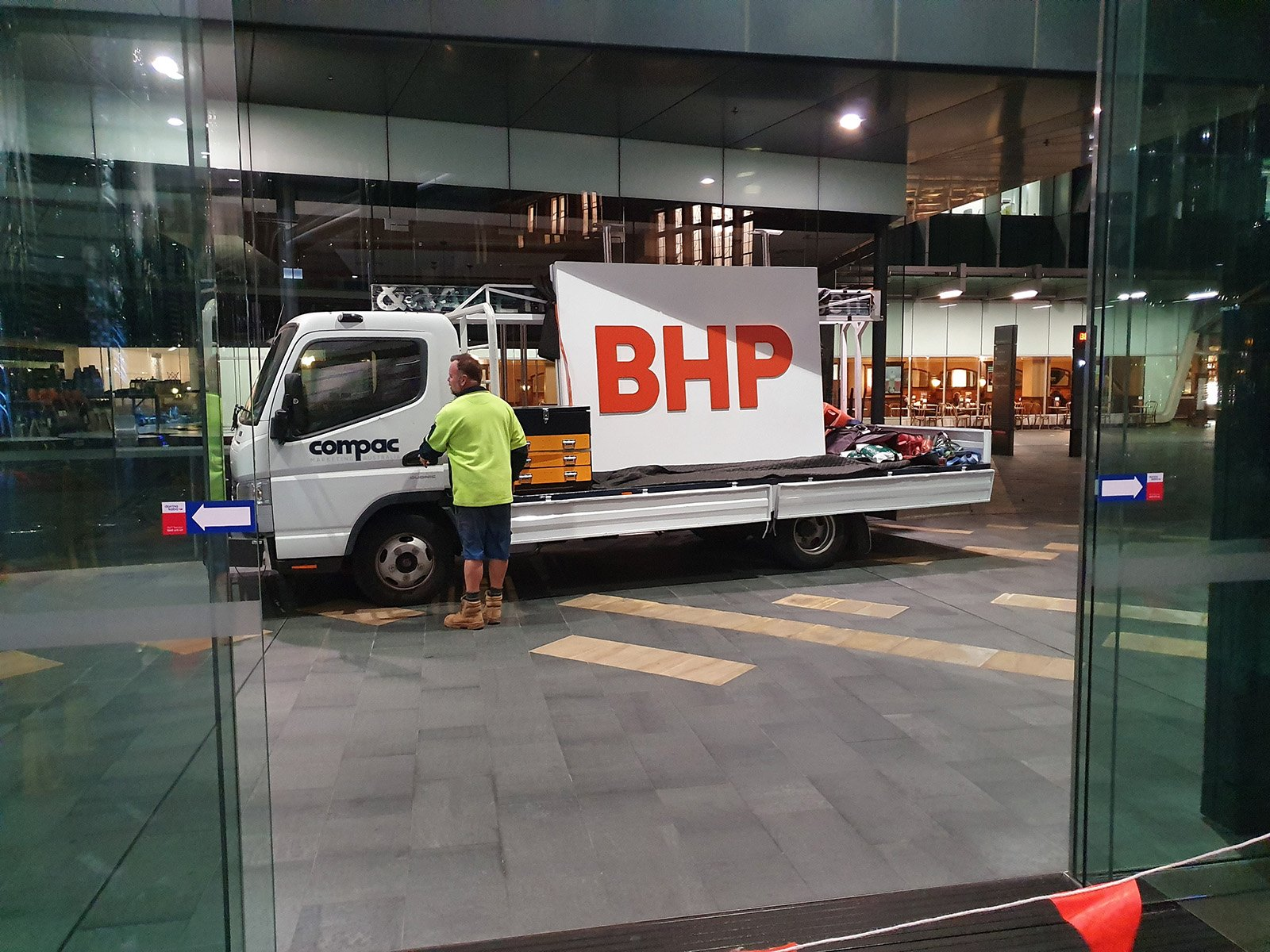 BHP re-branding double sided illuminated LED sign on the truck