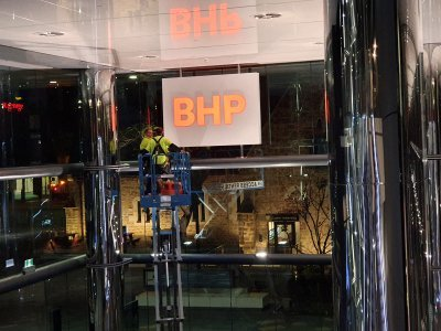 BHP re-branding double sided illuminated LED sign in position