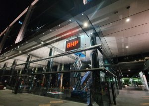 BHP re-branding double sided illuminated LED sign in position external shot